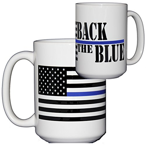 Back the Blue Coffee Mug for Police Officers - Thin Blue Line - Large 15oz Coffee Mug (And Coffee White Blue Striped Mugs)