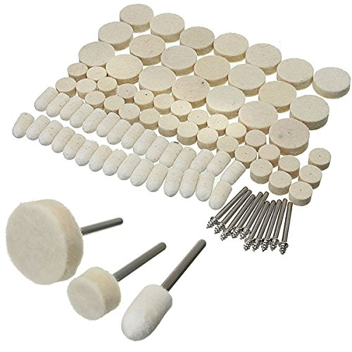 Hitommy 88pcs Felt Polishing wheels Buff Pad with Mandrel for Rotary Dremel