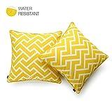 Hofdeco Decorative Throw Pillow Cover INDOOR OUTDOOR WATER RESISTANT Canvas Vibrant Yellow City Maze 18''x18'' Set of 2
