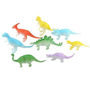 Toyvian 8 unids Luminoso Dinosaurio Modelos de Animales de Plástico Dinosaurio Moldes Juguetes Dinosaurio Modelos Figura Juguetes Decoración Partido Favor ...