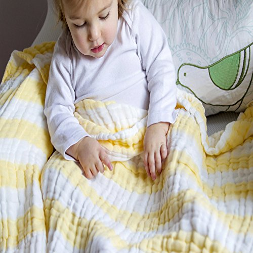 THREE BUGS BABY 6 Layer 100% Muslin Cotton Blanket for Your Baby or Toddler| Swaddle, Stroller, Car, Receiving Blanket or Wrap|Unisex Baby Shower Gift for Boys or Girls | Neutral Crib Bedding