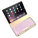 New iPad 9.7 Keyboard Case 2017 - iPad Air Keyboard Case Backlit Clamshell Wireless Bluetooth Keyboard Cover Aluminum Auto Sleep & Wake for Model A1474 A1475 A1822 A1823(Gold)