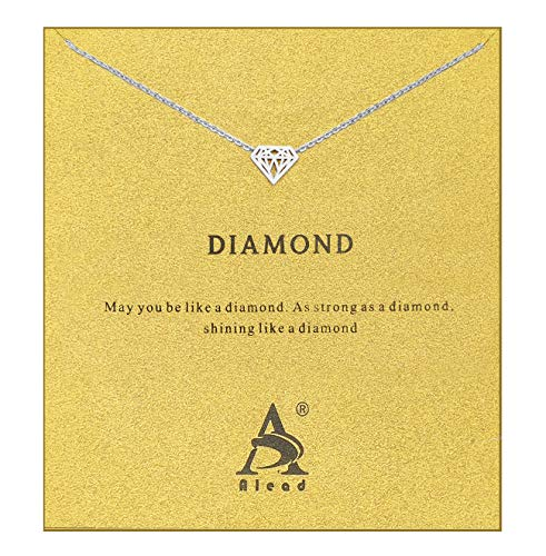 BECEDE Friendship Clover Necklace Unicorn Good Luck Elephant Butterfly Palm Aliens Lotus Cat-Ears Lucky Bird Pendant Necklace with Message Card Gift Card (Diamond-Silver)