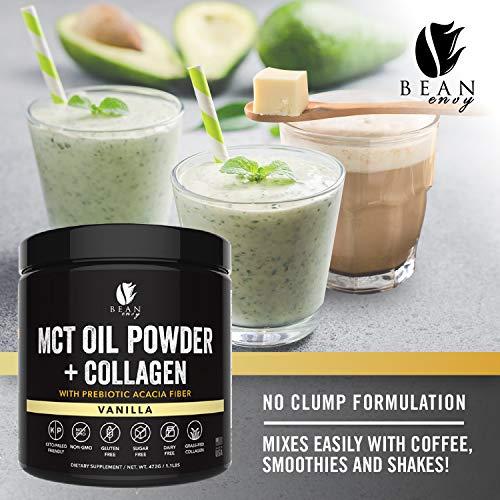 MCT Oil Powder + Collagen + Prebiotic Acacia Fiber - 100% Pure MCT's - Perfect for Keto - Energy Boost - Nutrient Absorption - Healthy Gut Support - Vanilla by Bean Envy (Image #4)