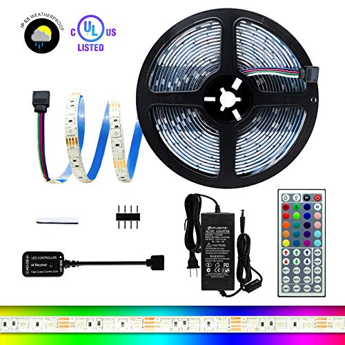 HitLights High Density Weatherproof RGB LED Light Strip Kit, 16.4 Feet - Includes Power Supply and Controller. 300 LEDs, 12V DC Tape Lights