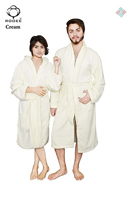 QAISIRIA Egyptian Cotton Bath Robes For Men and Women Unisex Terry  Towelling Cotton Dressing Gown Nightwear 419baa51c