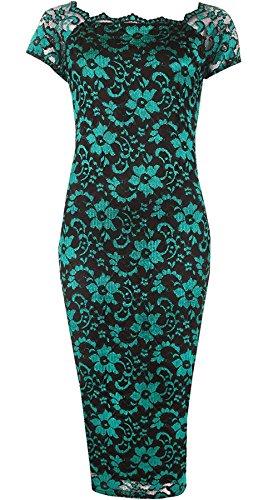 Neck Dress Hanger Bodycon 14 Cape AU Midi Turquoise Womens Sleeve Floral Ladies 28 Rimi Dress Lace Scallop Party OqAPdP