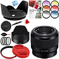 Sony FE 50mm F1.8 Full-frame Prime E-Mount Lens with 49mm Filter Sets Plus Accessories Bundle