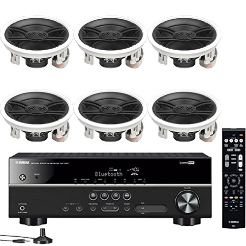- Yamaha 5.1-Channel Wireless Bluetooth 4K A/V Home Theater Receiver + Yamaha Custom Install 3-Way 100 watts Speaker with Dual Tweeters & 6-1/2