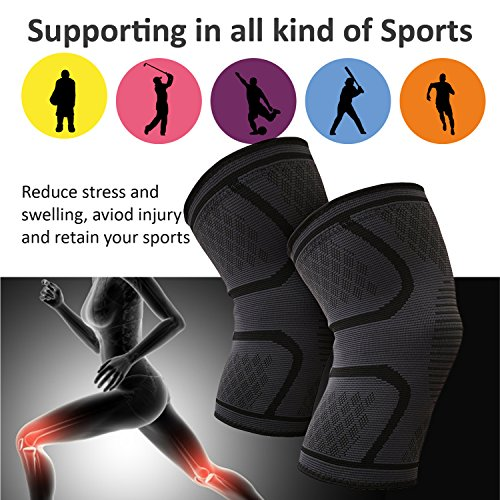 Two Pack Compression Knee Braces Black | Breathable | Small Medium Large Extra Large for Joint Pain Relief | Men Women Kids | Best for Running, Biking, Crossfit Training, Basketball, Sports & More
