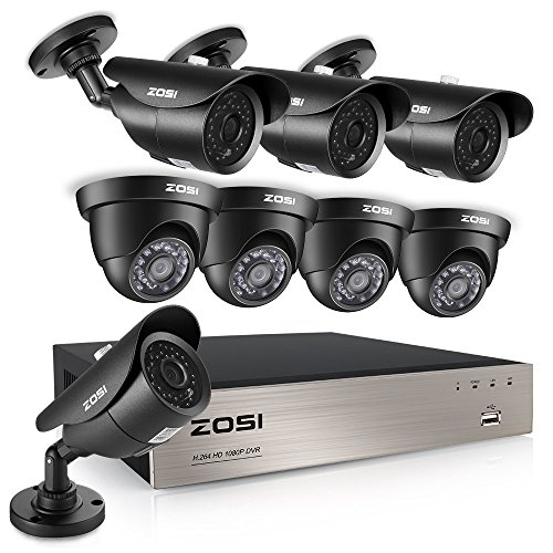 ZOSI FULL TURE 8CH 1080p Outdoor Surveillance System, 8 Weatherproof 1080P 2.0MP HD Bullet and Dome Security Cameras,8Channel FULL 1080P Video DVR Recorder NO Hard Drive,120ft night vision (Black)