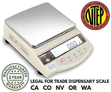 Vibra AJ-1200 Gram Scale - Legal for Trade - Gram - Ounce - Dispensary Scale - 1200 Gram Capacity - NTEP Class II - 0.01 Gram Readability With RS232 - Made ...