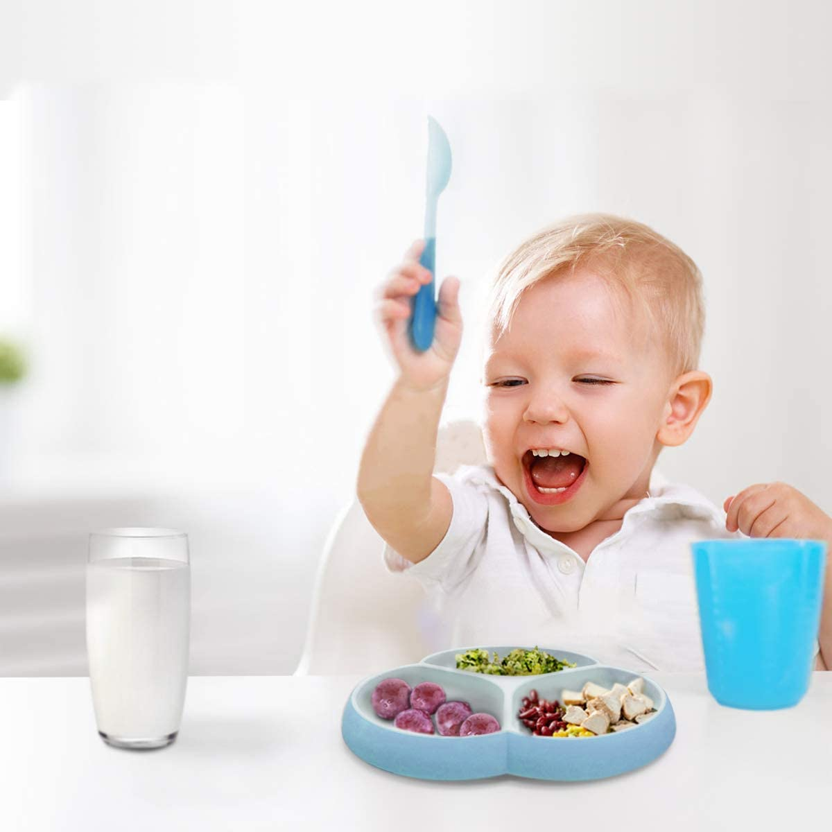 Microwave /& Dishwasher Safe Toddler Plates for Babies SILIVO Non Slip Baby Plates with Suction Toddlers and Children Kids Plates Silicone Baby Suction Plate Kids Blue//Gray