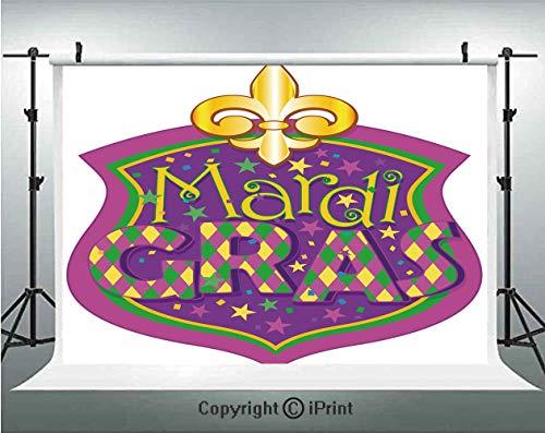 Mardi Gras Photography Backdrops Blazon Design Festive Mardi Gras Inscription and Fleur de Lis Symbol Decorative,Birthday Party Background Customized Microfiber Photo Studio Props,7x5ft,Purple Yellow -