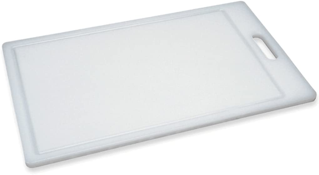 """Progressive International, Dis Prep Solutions by Progressive Cutting, Juice Grooves, Thick Chopping Board, Dishwasher Safe, Measures 9.5"""" x 15.5"""", Medium, White"""