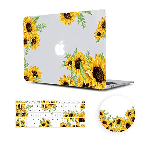 MacBook Air 13 Inch Case 2018 Release A1932,Arike Arike Sunflower Matte See Through Clear Hard Case with Keyboard Cover & Mouse Pad Compatible for MacBook Air 13 Inch with Retina Display & Touch ID (Id Display)