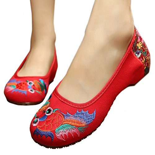 Cowhells Cloth Goldfish red Shoes Embroiderede Beijing IqIw1T0x