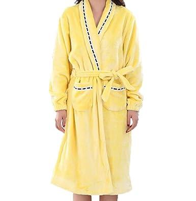 Bata De Invierno Franela Cálida Señora Pijama Mujeres Chaqueta Albornoz Casuales De Punto Larga Casa Servicio Bata Pijama: Amazon.es: Ropa y accesorios