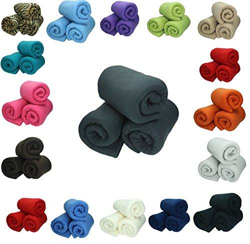 Betz 3 couvertures polaires 130x170 cm qualité 220 g/m² couleur au choix color crème
