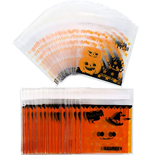 Jovitec 200 Pieces Halloween Self Adhesive Candy Bags Clear Cookie Bags Cellophane Treat Bags for Party Gift Supplies, 2 Styles