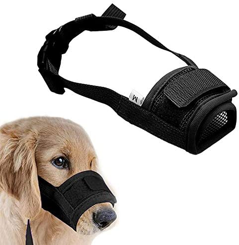 Coppthinktu Muzzle for Dogs - Adjustable Soft Dog Muzzle for Small Medium Large Dog, Air Mesh Training Dog Muzzles for Biting Barking Chewing - Breathable Mesh & Soft Flannel Protects Dog Mouth Cover