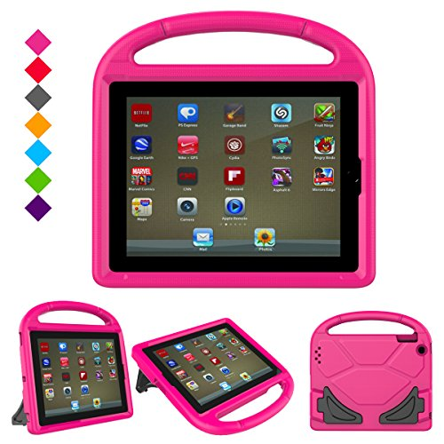 iPad case, iPad 2 / 3 / 4 case - Ubearkk [Shockproof] Case Light Weight Kids Friendly Case Super Protection Kid-Proof Cover Handle Stand Case For Apple iPad 2 iPad 3 iPad 4 (Pink)