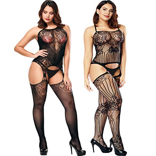 VivilY 2Pack womens body stocking fishnet lingerie Fishnet Stoking Tights