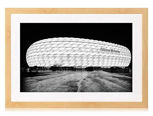 allianz-arena-stadium-art-print-burlywood-wood-framed-wall-art-picture-24x16-inches-black-and-white-