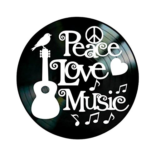 Peace Love Music Quote on a Vinyl Record Wall Artwork Album by VinylRevamped