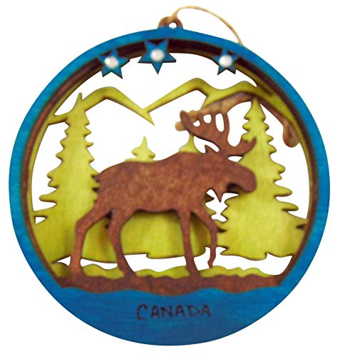 Canada Wooden Ornament with Canadian Moose Wood Christmas Decoration 4 1/2 Inch ()
