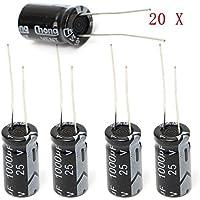 Doradus 20pcs 1000uF 25v radial condensateur électrolytique 10x17mm 105 ° c