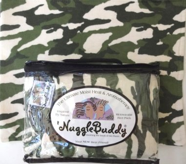 Moist Olive ('NUGGLEBUDDY Microwavable Moist Heat & Aromatherapy Organic Rice Pack. Cream & Olive Camo Flannel Fabric with SPEARMINT EUCALYPTUS Aromatherapy.)