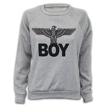 67f7237f3e11 Damen Sweatshirt Pullover Top Armee Adler Boy Aufdruck Freizeit Fleece  Futter Neu BOY  Amazon.de  Bekleidung