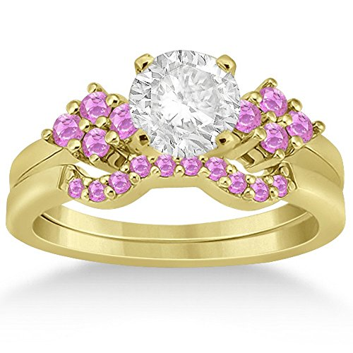 (Pink Sapphire Cluster Engagement Ring and Contour Wedding Band Bridal Set 18k Yellow Gold (0.50 ct))