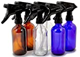 Vivaplex, 6, Large, 8 oz, Empty, Assorted Colors, Glass Spray Bottles with Black Trigger Sprayers