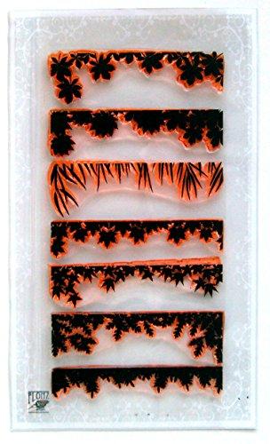 Autumn Leaves Art Deco Borders FLONZ Clear Stamps Set 004