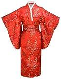 Kimono Palace Women's Traditional Dragon And Phoneix Classy Kimono Robe With Bag