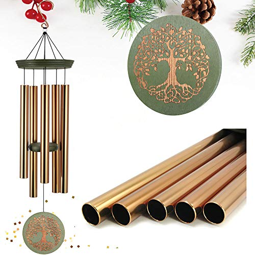 "ASTARIN Wind Chimes Outdoor Deep Tone,36"" Large Memorial Windchimes Amazing Grace with 5 Tuned Metal Tubes,Sympathy Wind Chimes Gifts for Garden Home Yard Hanging Decor,Engrave Tree of Life"