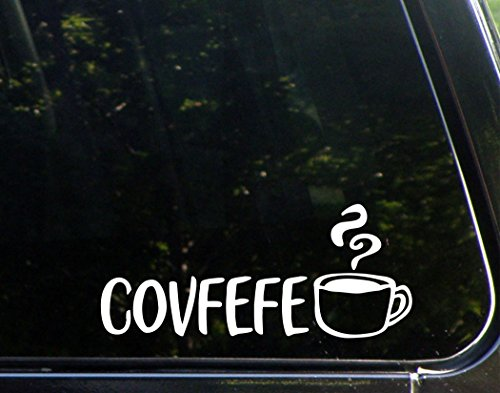Covfefe - 8- 3/4' x 3-3/4' - Vinyl Die Cut Decal/ Bumper Sticker For Windows, Cars, Trucks, Laptops, Etc.