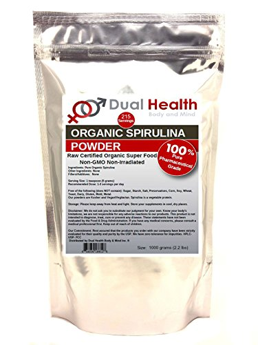 Pure Organic Spirulina (1kilogram (2.2 lbs)) Protein Powder USDA Chlorophyll Non-GMO Non-Irradiated Bulk Supplements by Dual Health Body & Mind
