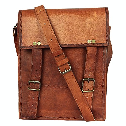 11 Inch Leather Vintage Rustic Crossbody Messenger Courier Satchel Bag Gift Men Women ~ Business Work Briefcase Carry IPad Book ~ Handmade Rugged & Distressed ~ Everyday Office College School