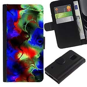 A-type (Colores psicodélicos) Colorida Impresión Funda Cuero Monedero Caja Bolsa Cubierta Caja Piel Card Slots Para Samsung Galaxy S5 V SM-G900