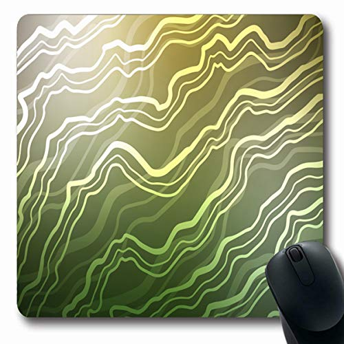 LifeCO Computer Mousepads Flow Arc Light Green Yellow Bent Ribbons Shining Crooked in Bright Marble Completely New for Your Oblong Shape 7.9 x 9.5 Inches Oblong Gaming Mouse Pad Non-Slip Rubber (Yellow Ribbon Mouse Pad)