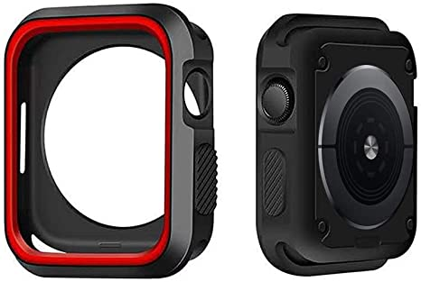 Imagen deIvyLife Funda para Apple Watch 44mm Carcasa para iWatch Series 5/4, Funda Protector de Pantalla de Apple Watch 4, Cubierta del Caso Anti-Choque, Negro y Rojo