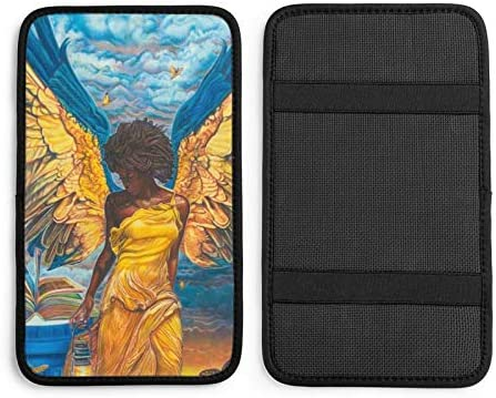 HTRBUOH African Woman Gold Wings Angel Auto Center Console Pad Car Armrest Seat Box Cover Protector for Most Vehicle