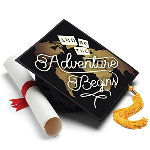 Tassel Toppers and so The Adventure Begins Grad Cap Decorated Grad Caps -