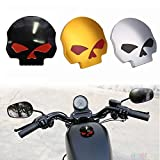 Etbotu Motorcycle CNC Aluminum Skull Eye Fuel Gas Tank Oil Cap for Harley Davidson Sportster XL 1200 883 X48 Dyna Softail FXD FL XL FLT Big Twin Touring Road King (Silver)