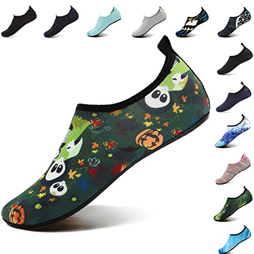 VIFUUR Unisex Quick Drying Aqua Water Shoes Pool Beach Yoga Exercise Shoes for Men Women Halloween 40-41 -