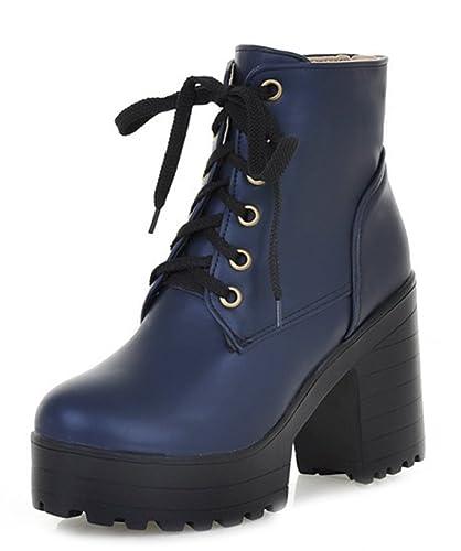 Easemax Femme Mode à Lacets Chaussure Montante Bout Rond Bottines Bleu 34 9332f1d1a3b5