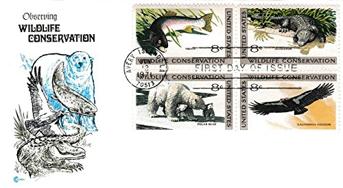 Stamp Block First Day Cover - United States Scott 1427-1430 8c Trout, 8c Alligator, 8c Polar Bear and 8c Condor Wildlife Conservation Se-tenant Block 1971 Avery Island, LA 70513 First Day of Issue. Cover Craft cachet. Unaddressed